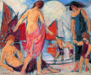 Jules-Emile Zingg, Élégantes à la plage, début XXe siècle.