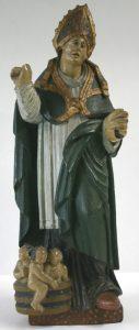 Saint Nicolas, sculpture en bois polychrome, début XVIIIe siècle.
