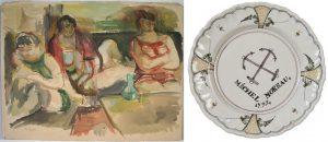 """Deux œuvres achetées récemment par les Amis du musée: Epstein, Scène de maison close, vers 1920 et assiette à décor de deux ancres de marine croisées dédicacée """"Michel Moreau 1793""""."""