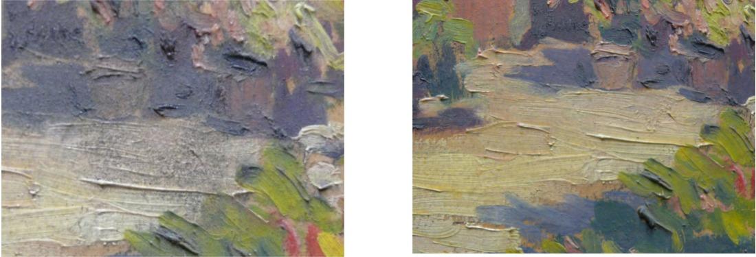 Détail d'une peinture avant et après dépoussiérage