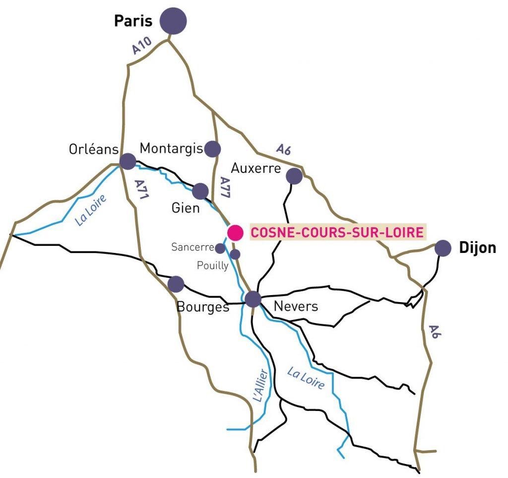 Carte de situation de Cosne